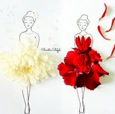 Love Limzy Fashion Illustration Sketches, Floral Illustrations, Illustration Art, Creative Pictures, Creative Art, Flower Petals, Flower Art, Flower Girls, Red Flowers