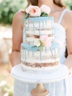 The Hottest Trend in Wedding Desserts: Drip Cakes | Southern + Rustic Blue + Beautiful, Cheery Springtime Semi-Naked Cake topped with Blush roses