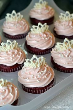 i heart baking!: white chocolate tiaras and red velvet cupcakes