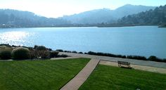 Acqua Hotel in Mill Valley, CA. Grassy courtyards provide prime views of Richardson Bay.