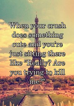 When your crush does something cute and you're just sitting there like Really? Are you trying to kill me?