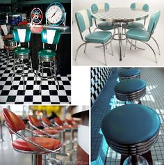 Awesome 1950's diner style bar stools - so retro!