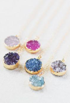 Noelani necklace gold druzy pendant