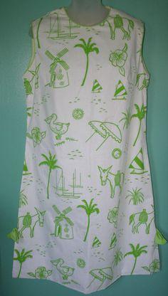 Vested Gentress Vintage Womens Summer Shift Beach dress Screen Printed * L * EUC #VestedGentress #Shift #Casual
