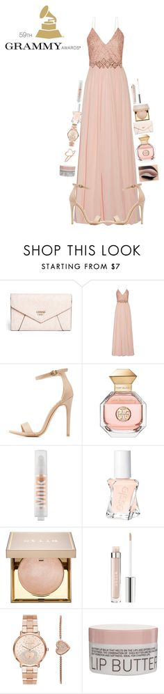"""""""My look for the Grammy's"""" by flowers8989 ❤ liked on Polyvore featuring GUESS, Badgley Mischka, Charlotte Russe, Tory Burch, MILK MAKEUP, Essie, Stila, Michael Kors, Korres and Ariel Gordon"""