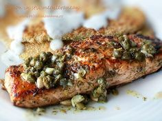 Somon in stil mediteranean - o reteta delicioasa Mediterranean Salmon, Mediterranean Recipes, A Food, Good Food, Food And Drink, Seafood Dishes, Fish And Seafood, Omega 3, Food Collage