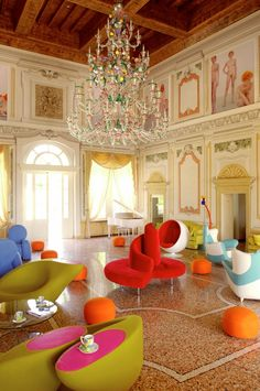 Another view of the hotel lobby seating. ~ Byblos Art Hotel, Italy