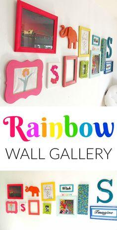 Rainbow Gallery Wall Children's room – Home Decoration Rainbow Room Kids, Rainbow Bedroom, Rainbow Nursery, Rainbow Wall, Room Ideias, Ideas Habitaciones, Rainbow Decorations, Christmas Decorations, Toy Rooms