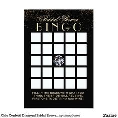 Chic Confetti Diamond Bridal Shower Bingo Cards
