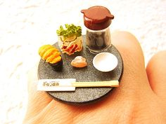 japanese food Chopsticks   Sushi Ring Miniature Japanese Food Jewelry Sushi Chopsticks