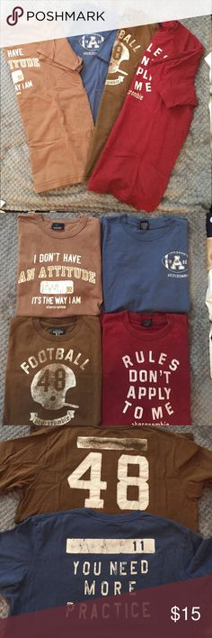 Four abercrombie kids t-shirts Four different abercrombie kids shirts! All in great condition and lightly worn! Darker brown and blue shirt both have images on back (picture 3), and lighter brown shirt has the tiniest hole on the front right hand side near the seam, not noticeable though! Price is for ALL 4 shirts. All are a children's size XL abercrombie kids Shirts & Tops Tees - Short Sleeve