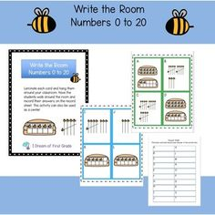 Write the Room - Numbers 0 to 20 First Grade Math, Grade 1, Math Poster, Primary Maths, Last Game, Number Recognition, Ten Frames, Bee Theme, Number Sense