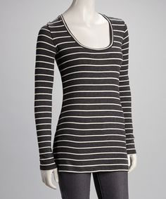 Take a look at this Charcoal & Cream Stripe Dweller Top by Saint Grace on #zulily today!