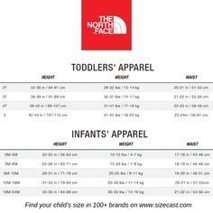 The North Face size chart, baby clothes size chart, baby clothing size chart, kids clothes size chart, kids clothing size chart, Predict your baby's future size in The North Face and 100+ other brands on www.sizecast.com Toddler Outfits, Kids Outfits, Baby Clothes Sizes, My Children, Children Clothes, Baby Growth, Clothing Size Chart, Height And Weight, Daily Quotes