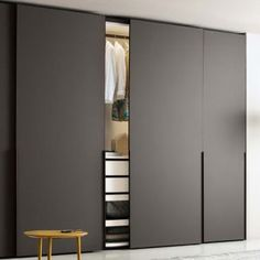 Ghost sliding door is available in plain, satinated glass or mirror door. Ghost sliding door is available in plain, satinated glass or mirror door.