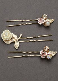 Add a floral touch to your hairstyle with these Melissa Sweet hair pins!  This set of three different gold flower hair pins, with each embellished with crystals. Melissa Sweet for David's Bridal Style HPMS251404. #headpiece #bridalhair #davidsbridal