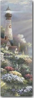 Stretched Canvas Print: Peaceful Reflections Panel Canvas Print by Alma Lee : Thomas Kinkade Art, Kinkade Paintings, Thomas Kincaid, Art Thomas, Lighthouse Painting, Pictures To Paint, Beautiful Paintings, Pretty Pictures, Love Art