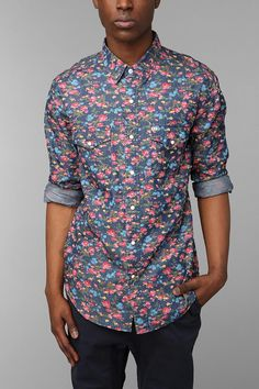 Salt Valley Smoky Floral Western Shirt #urbanoutfitters