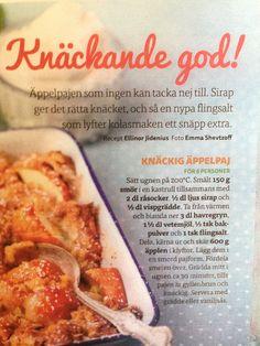 Äppelpaj Food Crafts, French Toast, Chicken, Tarts, Breakfast, Desserts, Beverages, Magic, God