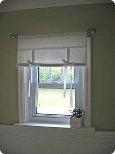 Breakfast Nook~ Ribbon Tie Curtains w tutorial Modern Net Curtains, Tie Up Curtains, Cute Curtains, Elegant Curtains, Curtains With Blinds, Tie Up Shades, Knock Off Decor, Curtain Tutorial, Diy Blinds