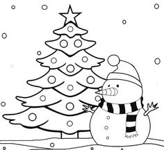 snowman and christmas tree coloring page
