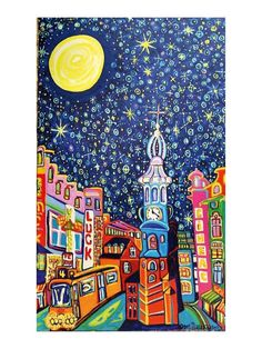 Starry Night an artprint of the Mint Tower in Amsterdam from an orinal by Igor Marceau by lesARTicles