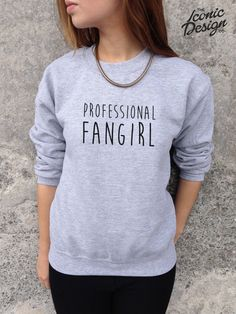 PROFESSIONAL FANGIRL Fan Girl Funny Slogan Jumper Top Sweater 1D One Direction