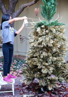 How to spray paint your christmas tree gold- or any other color! #tree #christmas #color