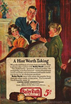 Vintage baby Ruth Candy Ad 1927