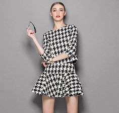 Clothes Women Fashion New Vintage Suit Houndstooth Tops + Skirts Suits Two Pieces Set Skirt Suit, Online Shopping Stores, Houndstooth, Vintage Dresses, Beautiful Dresses, Suits, Black And White, Clothes For Women, Womens Fashion