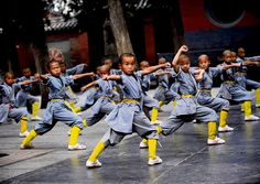 Chinese KungFu Yound Shaolin Monks training Martial arts kids