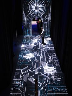 Modern Art Light Installation, oakley's disruptive by design campaign by moment factory at studio RED in los angeles, CA, USA Interaktives Design, Design Visual, Wall Design, Theatre Design, Stage Design, Interactive Installation, Installation Art, Interactive Projection, Interactive Media