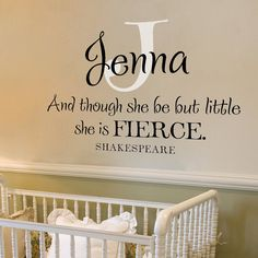 Monogram with and Shakespeare quote - Though she be but little she is fierce - Vinyl Wall Decal