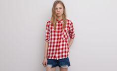 Pull&Bear - mujer - blusas y camisas - camisa bolsillo cuadros - rojo - 05472329-V2015