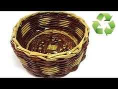 DIY: Cesta hecha con periódico. Newspaper basket. - YouTube