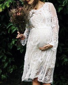Pregnancy maternity photography white lace wedding dress. Dried Australian natives Pregnant bump photo