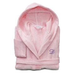 Linum Home Textiles Personalized Kids Turkish Cotton Hooded Terry Bathrobe Pretty Pink / Lavender - LKDS65-S-S-30-I