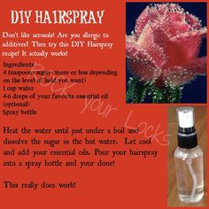 DIY Hairspray for those with allergies
