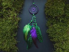 Dream catcher rear view mirror charm car decor hanging mobile crystal pendant hippie bohemian Native American feather gemstone accessory