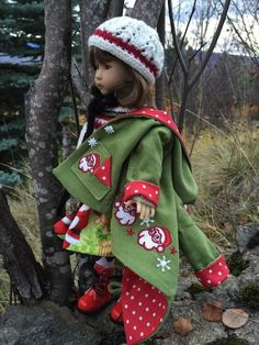 "~SANTA ON MY COAT!~ by Tuula fits Dianna Effner 13"" Little Darling to a ""t""!"