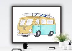 Available sizes (inches): Beach Theme Wall Decor, Room Decor, Boy Room, Kids Room, Retro Bus, Beach Print, Texture Art, State Art, Painting Frames