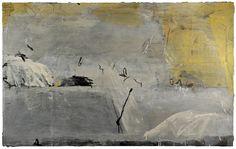 andrew crane~ paint, cement, varnish, graphite on canvas