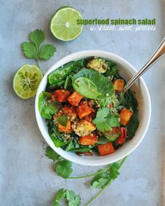 Superfood Spinach Salad w/Roasted Sweet Potatoes // via Nosh and Nourish