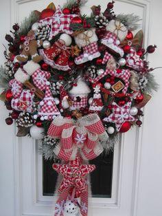 Türkranz Weihnachten Weihnachtskranz Landhaus Rot-Weiß Tilda-Art | eBay