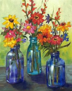 """Daily Paintworks - """"Meeting of Minds"""" - Original Fine Art for Sale - © Libby Anderson Watercolor Flowers, Watercolor Art, Flowers In Jars, Still Life Art, Fine Art Gallery, Beautiful Paintings, Flower Art, Illustration, Cool Art"""