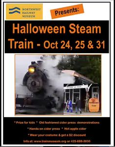Halloween Train at the Northwest Railway Museum October 25 and 2015 Halloween Train, Cider Press, Railway Museum, Train Rides, North West, October, Fun, Hilarious