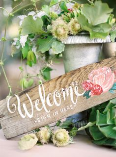 Rustic wooden welcome wedding sign: Photography: Jose Villa Photography - http://www.stylemepretty.com/portfolio/jose-villa Floral Design: Chestnut & Vine Floral Design - http://www.stylemepretty.com/portfolio/chestnut-and-vine-floral-design Event Design + Planning: Amy Kaneko Events - http://www.stylemepretty.com/portfolio/amy-kaneko-events   Read More on SMP: http://www.stylemepretty.com/little-black-book-blog/2013/09/11/10-ways-to-pretty-up-your-wedding-with-calligraphy/