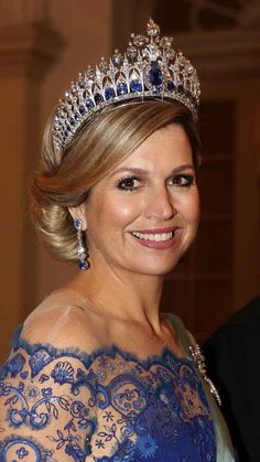 Queen Máxima with the full version of the Dutch Sapphire tiara for a state dinner in Copenhagen, Denmark in March 2015.