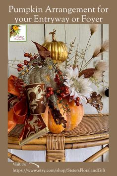 The harvest of autumn will be on your table through Thanksgiving.  A lovely arrangement of orange, gold, brown, and glitter awaits to create a cozy home feel for your friends and family this fall. Pumpkin Arrangements, Artificial Flower Arrangements, Artificial Flowers, Fall Entryway Decor, Pumpkin Decorating, Holiday Decorating, Decorating Ideas, Halloween Decorations, Fall Decorations