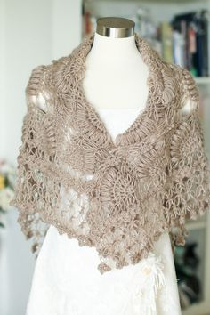 ShawlTaupe ShawlBrown Shawl Crochet Shawl Bridal by MODAcrochet